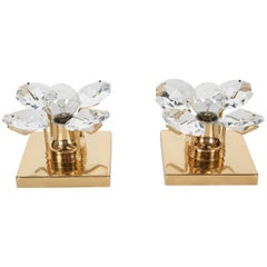 Pair of Cut Crystal and Gold Hollywood Regency Sconces by Christoph Palme