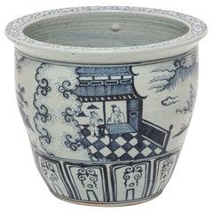 Indigo Blue and White Scroll Jar