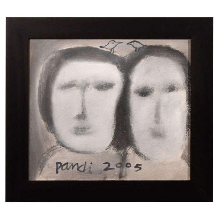 The Sisters, Contemporary Abstract Figural Painting For Sale