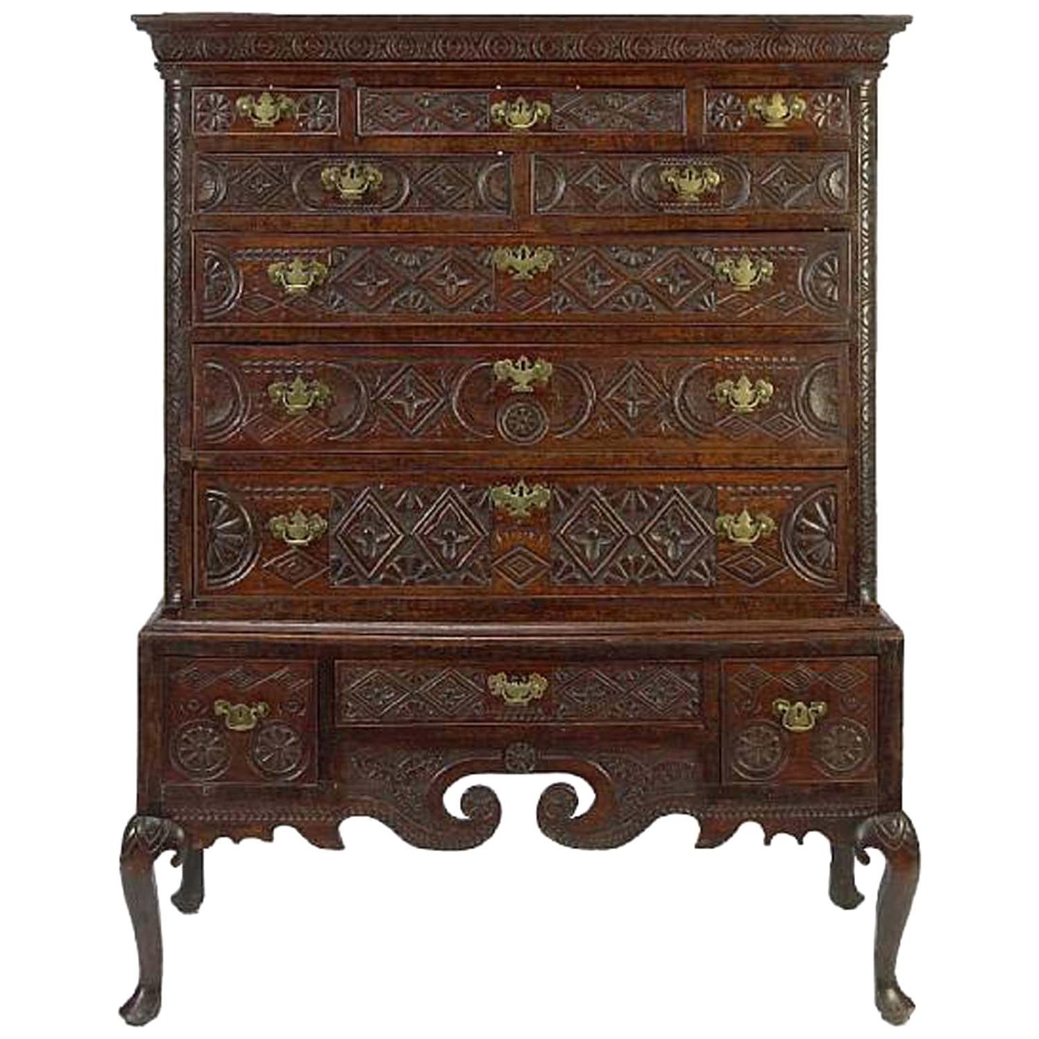 18th Century George III Carved Oak Highboy Cabinet