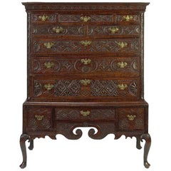 18th Century George III Carved Oak Highboy Cabinet