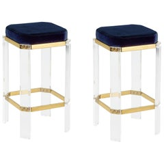 Set of 2, Acrylic Counter Stool with Brass Accents and Navy Velvet Cushion