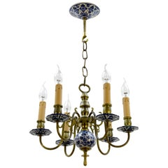 Dutch Brass and Delft Blue Porcelain Six-Light Chandelier