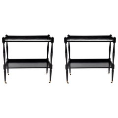 Pair of French Black Painted Tables with Lower Shelf and Turned Legs on Casters
