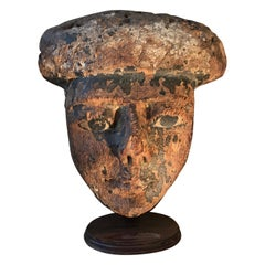 Egyptian Poly-Chrome Wood Mask 100-200 BC Garniture Sarcophagus Face Mask statue
