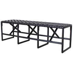 Montgomery Woven Leather Bench 60in