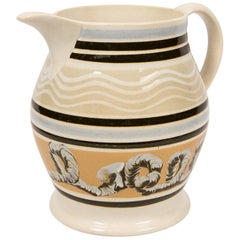 Mochaware Pitcher with Cable and Wavy Line Decoration
