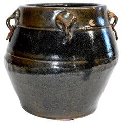 Antique Pottery Jar, 4 Ears Silver Gray Blue