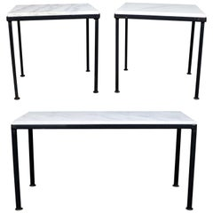 Trio of Small Black Iron Frame White Marble-Topped Tables for Indoors or Out