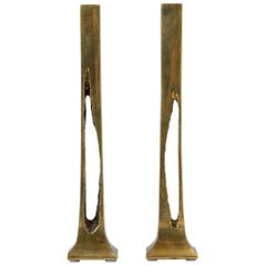 Belgian Modernist Candlesticks in Cast Brass
