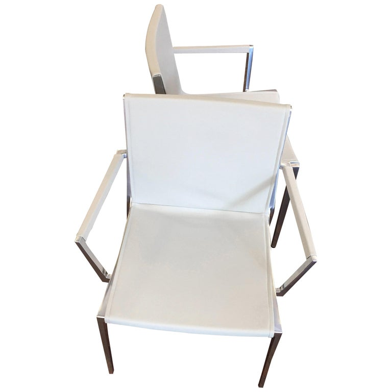 Set of Six KFF Unique Stackable Leather Chairs with Polished Aluminum Frame For Sale