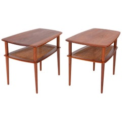 Pair of Teak Side Tables with Cane Shelf by Hvidt & Mølgaard for France & Daverk