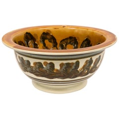 Large Mochaware Bowl with Cable Decoration Mid 19th Century