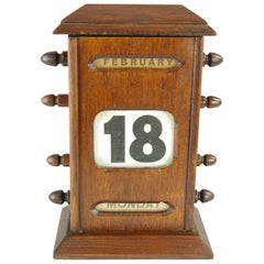 Antique Calendar, Victorian Dark Oak Perpetual Calendar, Scotland 1890