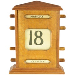 Antique Desktop Calendar, Tiger Oak Perpetual Calendar, Scotland, 1900