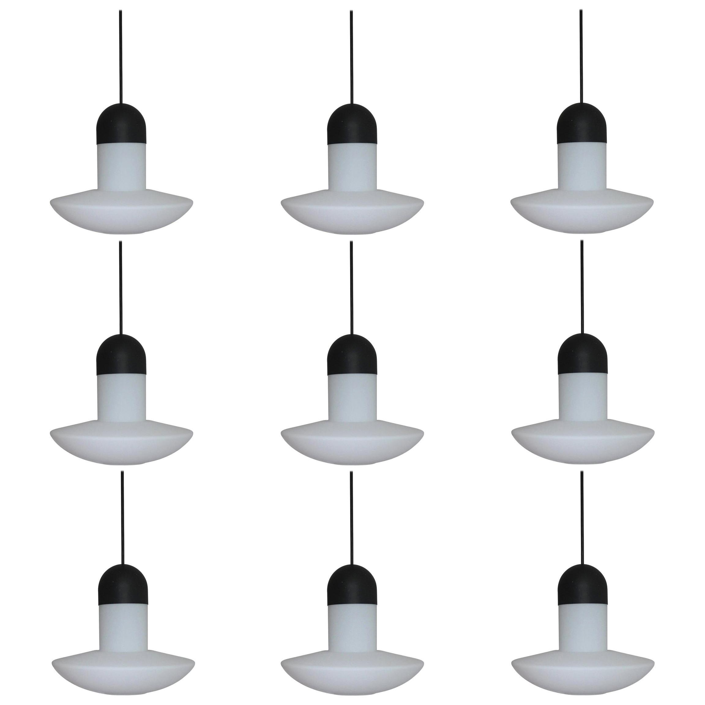 Set of Nine Glashütte Limburg Pendant Lamp, Opal Glass, Germany, 1960s