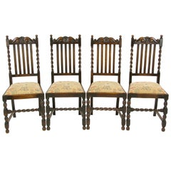 4 Antique Dining Chairs, Barley Twist Oak Dining Chairs, Scotland, 1920s