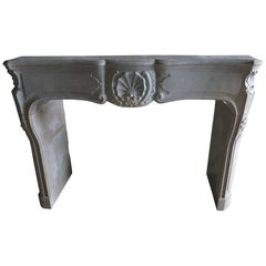 "Louis XV Style Fireplace in Marble-Stone Called ""Pierre Marbriere"", Burgundy"