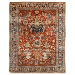 Antique Persian Tabriz Silk Rug