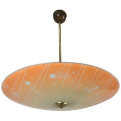 Large Mid-Century Modern Etched and Peach Colored Glass Pendant or Flush Mount