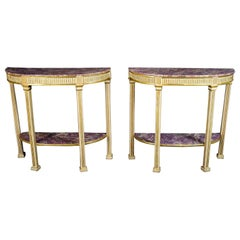 18th Century White Gold and False Amethyst Wood Neoclassic Pair of Consoles