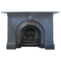 Substantial Mid Victorian 19th Century Carved Slate Fire Surround