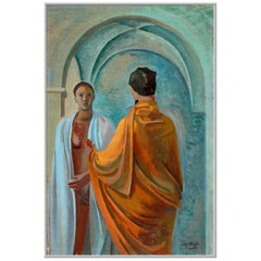 "1943 Mario Tozzi ""Confidenze"" Oil on Canvas Painting"