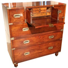 Early Victorian Mahogany Campaign Chest with Secretary Drawer
