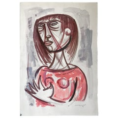 Giuseppe Migneco Italian Midcentury Modern Drawing Watercolor on Paper, 1966