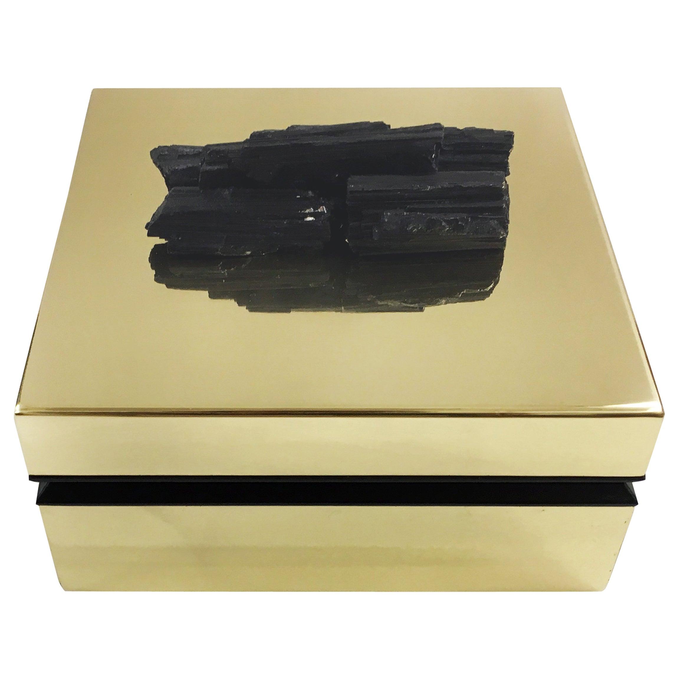 Tourmaline and Brass Jewelry Deco Box