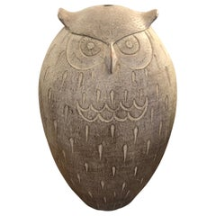Special Very Large Terracotta Abstract Owl Sculpture