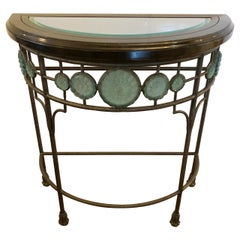 Gorgeous Vintage Iron Demilune Console Table with Glass Celadon Green Rosettes
