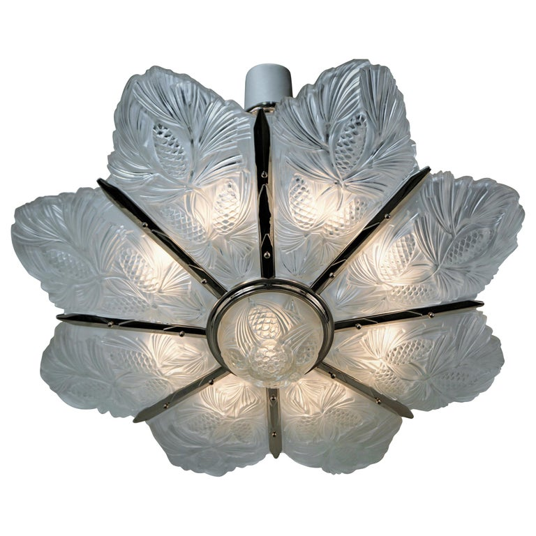 Set of Three Large Art Deco Chandeliers by Sabino For Sale
