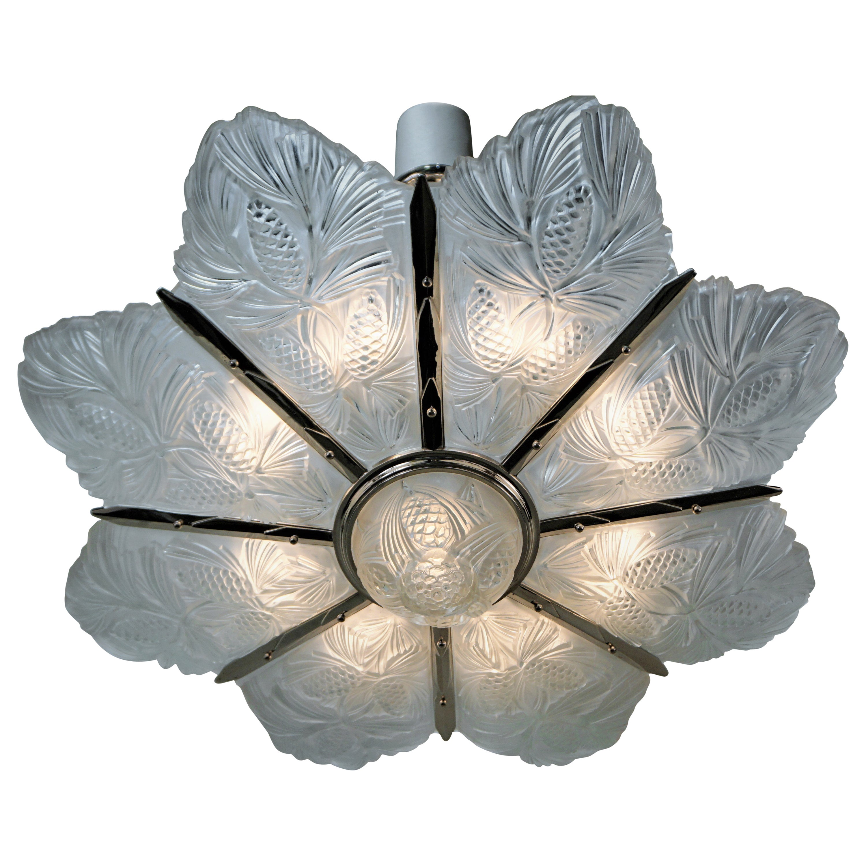 Set of Three Large Art Deco Chandeliers by Sabino