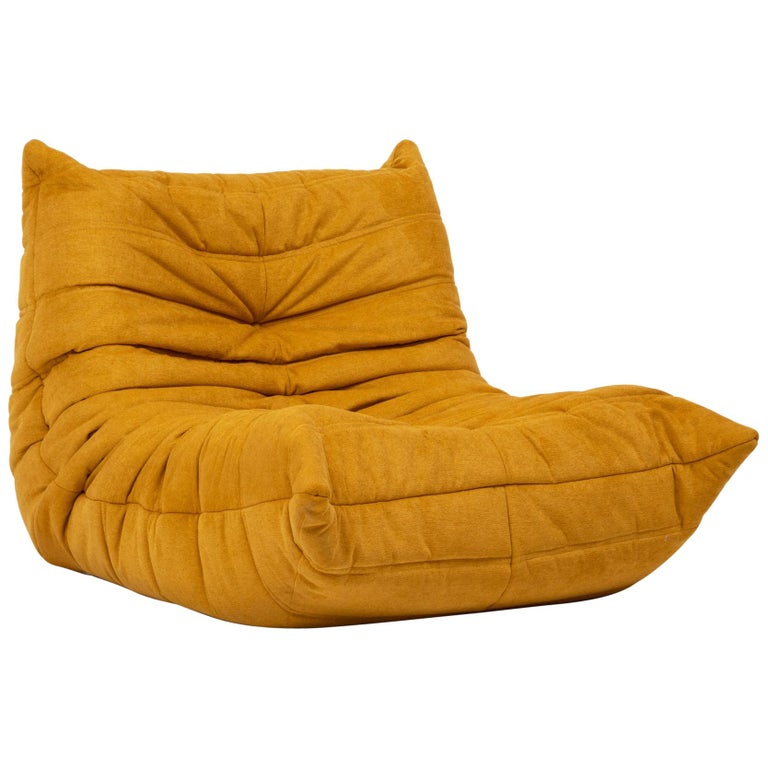 Togo Yellow Fabric Fireside Chair by Michel Ducaroy for Ligne Roset For Sale