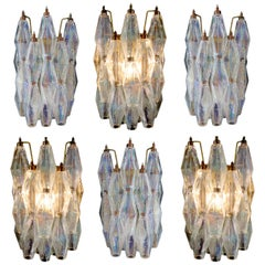 "Pair of Sconces Iridescent Glass ""Poliedri"", Carlo Scarpa Style, Murano, 1970s"