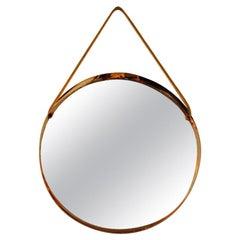 Round Decorative Mirror with Copper Frame, Scandinavian