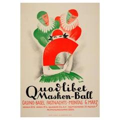 Original Vintage Carnival Poster Quodlibet Masken-Ball Casino Basel Masked Ball