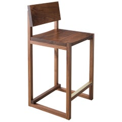 SQ Counter Stool, Solid Walnut Hardwood + Brass Hardware, Handmade in USA