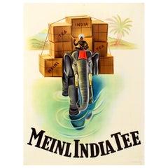 Original Vintage Tea Drink Advertising Poster for Meinl India Tee Ft. Elephant
