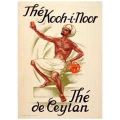 Original Vintage Sri Lanka Ceylon Tea Poster for Thé Kooh-i-Noor Thé De Ceylan