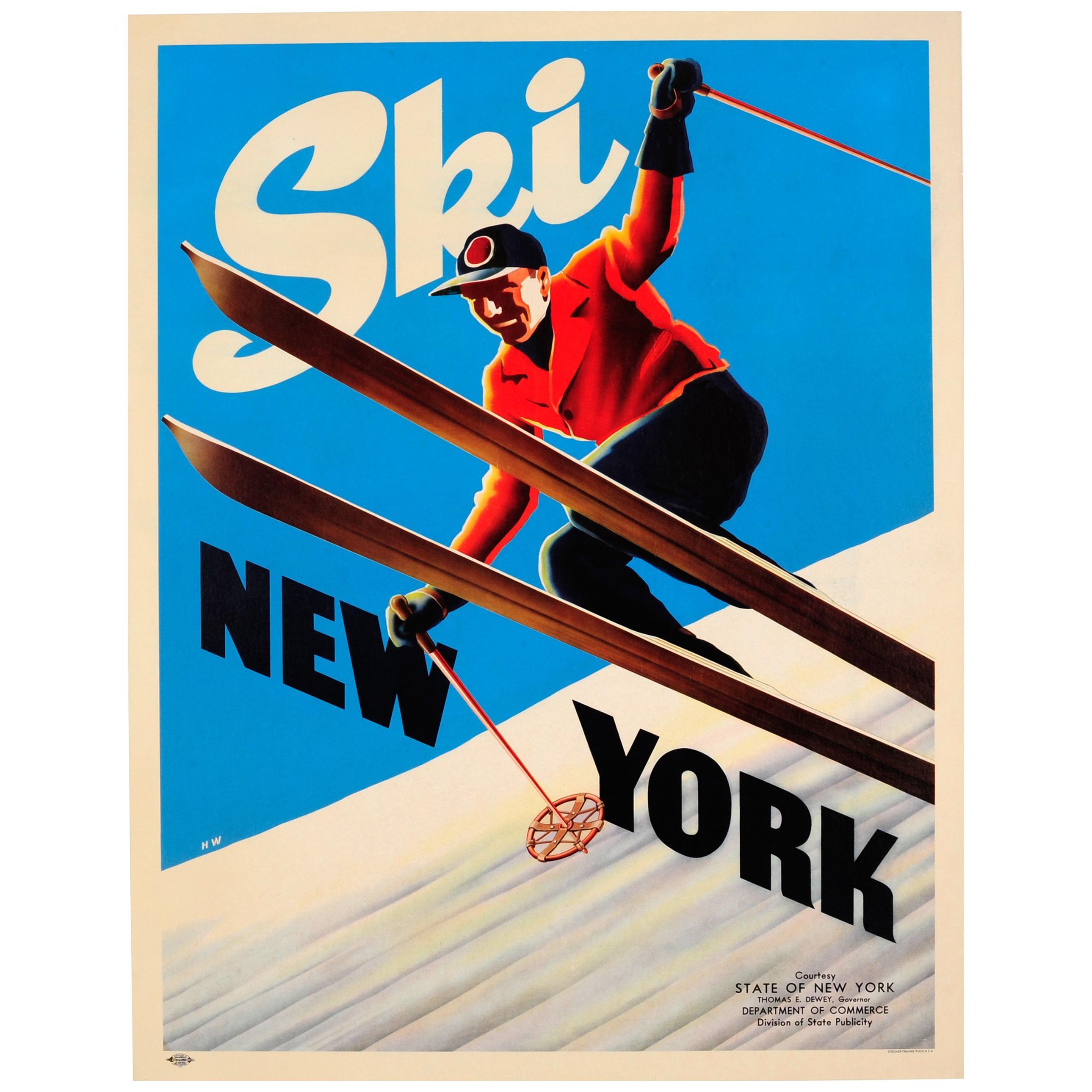 Original Vintage Skiing Poster Ski New York Ft. Skier Courtesy NY State Governor