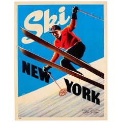 Original Vintage Skiing Poster Ski New York Ft. Skier Courtesy NY State Governor
