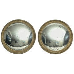 Pair of Italian 19th Century Wunderkammer Hanging Convex Mirrors