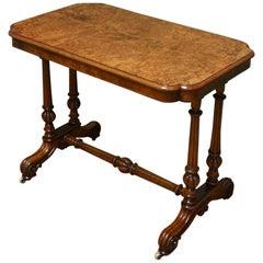 Victorian Figured Golden Burr Walnut Antique Centre / Side / Writing Table