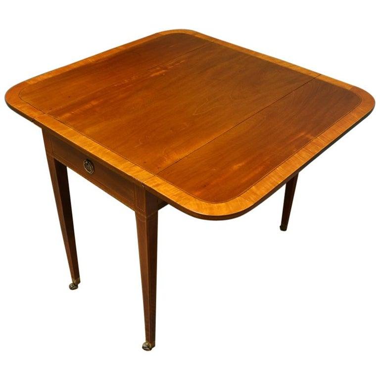 Antique Drop Leaf Table >> Elegant Victorian Walnut Antique Drop Leaf Table