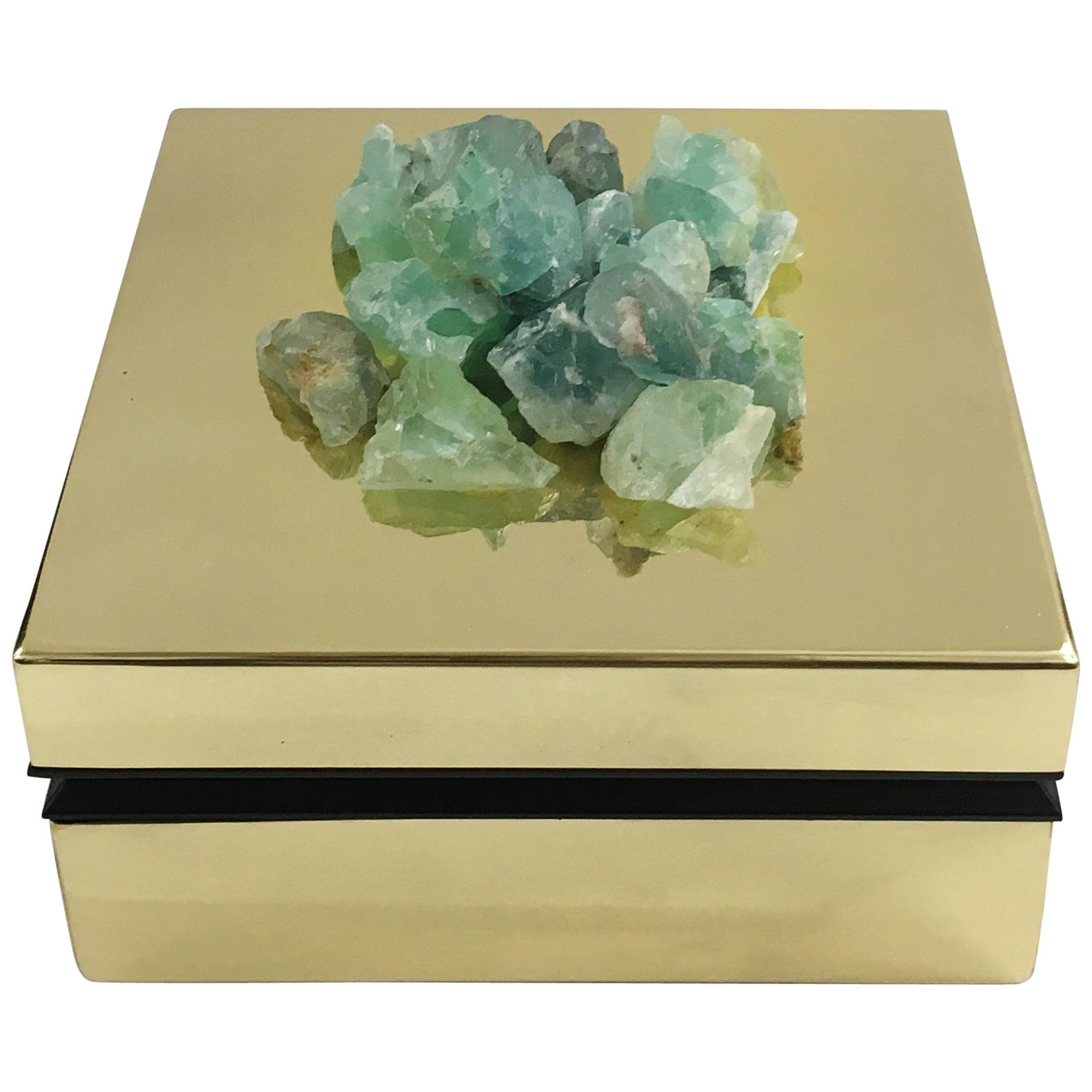 Fluorite and Brass Jewelry Deco Box