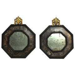 Pair of Italian Early 19th Century Hanging Mirrors Octagonal Shape