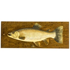 Edwardian Fishing Trophy Carved Half Block Model of a Salmon