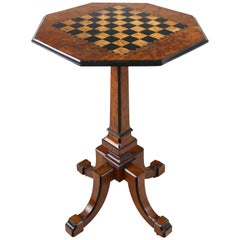 Antique Irish Killarney Yew Inlaid Chess Top Games Occasional Table